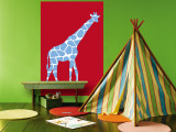 Red Giraffe Wall Mural by  Avalisa