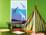 Blue Giraffe Plains Wall Mural by  Avalisa
