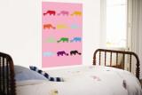 Pink Rainbow Rhinos Wall Mural by  Avalisa