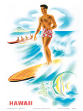 Matson Lines to Hawaii, Surfer and Outrigger, c.1940s Prints by Frank MacIntosh