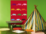 Red Rainbow Rhinos Wall Mural by  Avalisa