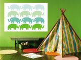 Green Elephant Family reproduction murale géante par  Avalisa