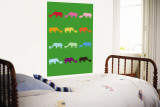 Green Rainbow Rhinos Wall Mural by Avalisa 