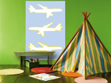 Blue Planes Wall Mural by  Avalisa