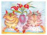 Two Cat Companions Prints by Esther Szegedy