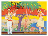 Hawaii Romantic Beautiful, Tourist Booklet Cover, 1940's Posters by W. Taylor