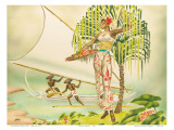 Island Beauty, Hawaiian Art Deco Airbrush 1940s Prints by  Gill