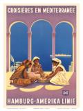 Hamburg Amerika Linie, Croisieres en Mediterranee c.1930s Plakater af Ottomar Anton