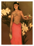 Banana Girl, Royal Hawaiian Hotel Menu, c.1950 Art by John Kelly