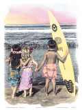 Surf Keikis, (Children) Print by  Himani