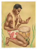 Hawaiian Kneeling Drummer, c.1930s Print by  Gill