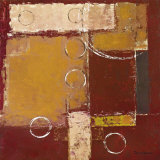 Circles on Red and Brown II Art by David Sedalia