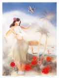 Hawaiian Hula Girl Prints by Yu Shirofani