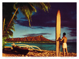 Outrigger & Diamond Head, Surfer, Oahu, Hawaii, c.1951 Affiches par Stewart Fern