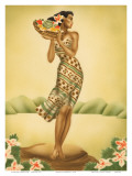 Tropical Harvest, Hawaiian Woman with Fruit, c.1930s Prints by  Gill