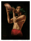 Hawaiian Conch Shell Blower, c.1940s Posters by Leeteg 