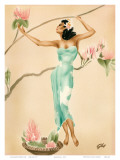 Magnolia, Hawaiian Woman with Flowers c.1930s Poster by  Gill