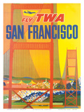 Fly TWA San Francisco, Golden Gate Bridge c.1958 Poster by David Klein