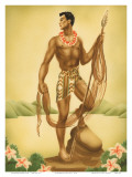 Hawaiian Fisherman with Ihe (Spear), c.1930s Poster by  Gill