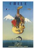 Chile by SAS, Scandinavian Airline System, c.1951 Reproducción por De Ambrogio