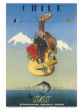 Scandinavian Airlines Chile, Gaucho Guitar, c.1951 Art by  De Ambrogio