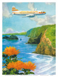 Hawaiian Airlines, Convair 340 Flying over Cliffs of Pololu Valley, Hawaii, c.1953 Art by Lloyd Sexton