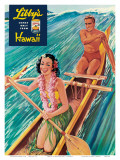 Surfing on Outrigger Canoe, Libby's Pineapple Hawaii, c.1957 Art by  Laffety