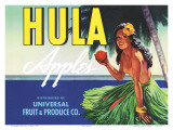 Hula Apples, Crate Label with Topless Hula Girl, c.1930s Prints