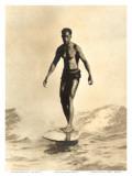 Duke auf dem Surfbrett Poster