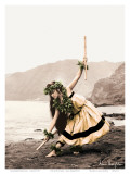 Pua with Sticks, Hawaiian Hula Dancer Posters af Alan Houghton