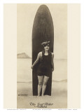 The Surf-Rider Hawaii, Girl with Surfboard, Photo Postcard c.1920 Prints by Ray Jerome Baker