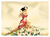 Wahine in Red, Hawaiian Woman with Outrigger Canoe, c.1930s Prints by  Gill