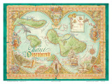 Maui Discovered, Vintage Map of Maui, Hawaii Prints by Dave Stevenson