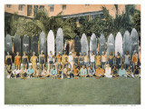 Duke Kahanamoku and Surfing Friends c.1930 Prints by Deanna Benatovich