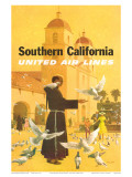 United Airlines Southern California, Spanish Mission, 1960s Prints by Stan Galli