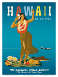 Hawaii By Clipper, Pan American Airways, Hula Girl, c.1950 Art by  Atherton