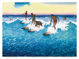 Surf Riders Honolulu, Hawaii, c.1925 Print by Charles W. Bartlett
