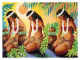 The Sun at the Source of Life, Hawaiian Hula Girls Planscher av Warren Rapozo