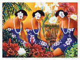 Silent Preparation, Hawaiian Hula Dancers Posters av Warren Rapozo