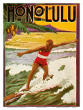 Surfing, Tourist Booklet, Honolulu, Hawaii, c.1918 Affiches