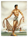Hawaiian Net Fisherman, c.1930s Posters by  Gill