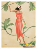 Hawaiian Lady with Red Dress c.1930s Posters by  Gill