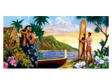 Surfing In Paradise, Hawaii Print by Warren Rapozo