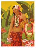 Topless Hawaiian Lei Vendor, Menu Cover, c.1950 Poster af J. Maybra
