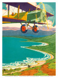 Bi-Plane Over The Hawaii Coastline, c.1928 Prints by Lucille Webster Holling