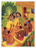 Hula Halau, Hawaii Cruise Line Menu Cover, c.1942 Print