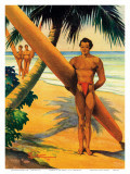 Surfers at the Beach, Hawaii, c.1942 Poster by H. B. Christian