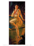 Firelight Hula, Hawaiian Pin-up Girl, c.1920s Prints by Gene Pressler