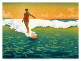 The Duke, Hawaiian Duke Kahanamoku Surfing c.1918 Affiches par Charles W. Bartlett