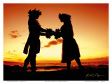 Love Gives Life Within, Hawaiian Hula Dancers at Sunset Posters by Randy Jay Braun